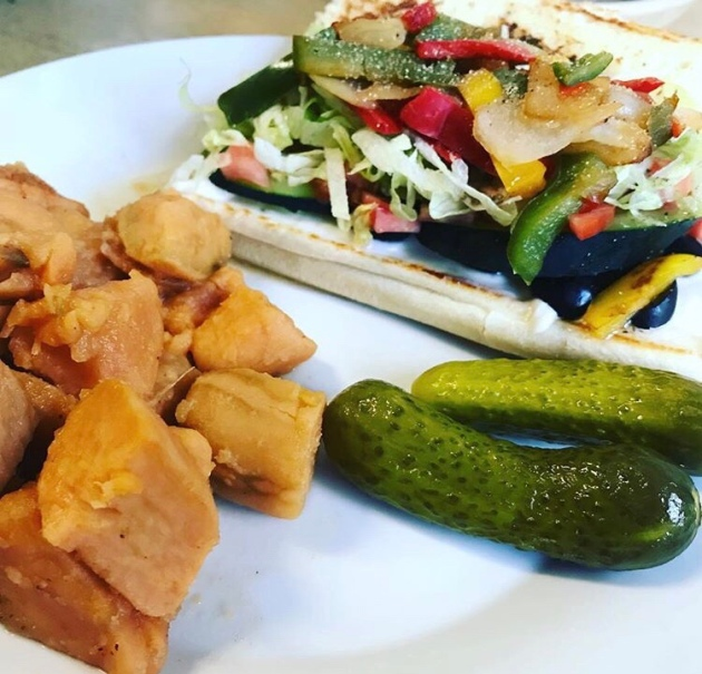 Vegetable sub, yams and pickles.